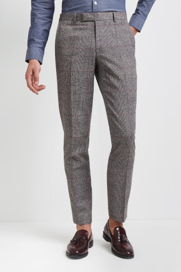 Moss London Skinny Fit Black and White Red Check Trousers