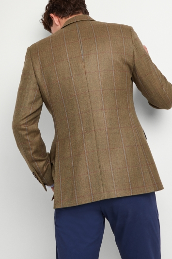 Moss 1851 Tailored Fit Tan Multi Check Jacket