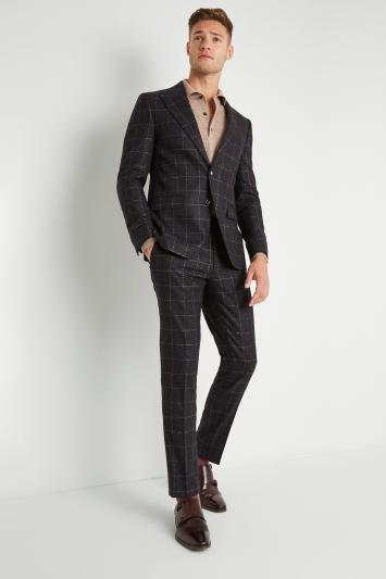 Moss London Premium Skinny Fit Charcoal Tan Windowpane Jacket
