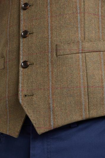 Moss 1851 Tailored Fit Tan Multi Check Waistcoat