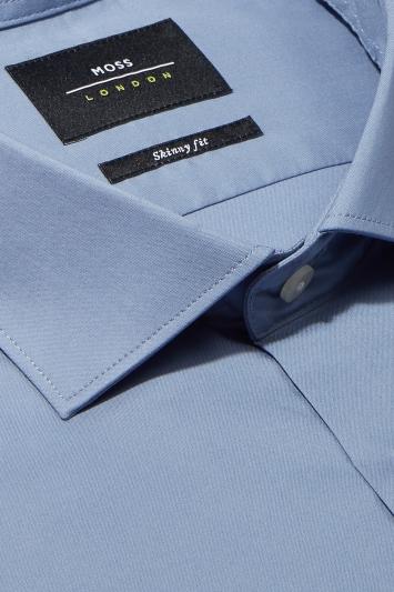 Moss London Skinny Fit Sky Single Cuff Stretch Shirt