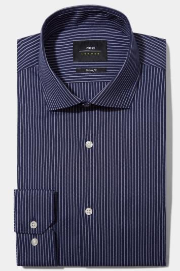 Moss London Skinny Fit Navy Single Cuff Stripe Shirt
