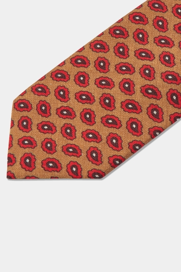 Moss 1851 Made In Italy Mustard & Red Paisley Print Boiled Wool Tie