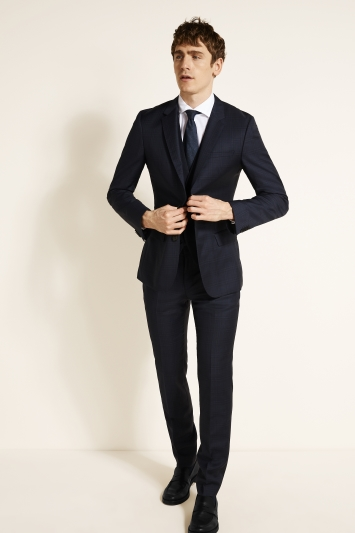 Slim Fit Navy Shadow Check Jacket