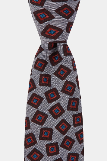 Moss 1851 Made In Italy Grey Square Geo Print Cotton Tie