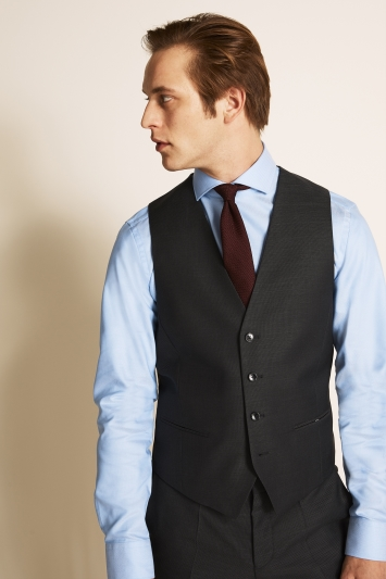HUGO by Hugo Boss Charcoal Cont Basket Weave Waistcoat