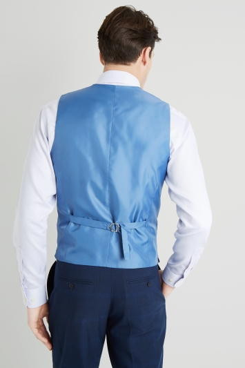 Moss 1851 Tailored Fit Bright Blue Check Waistcoat