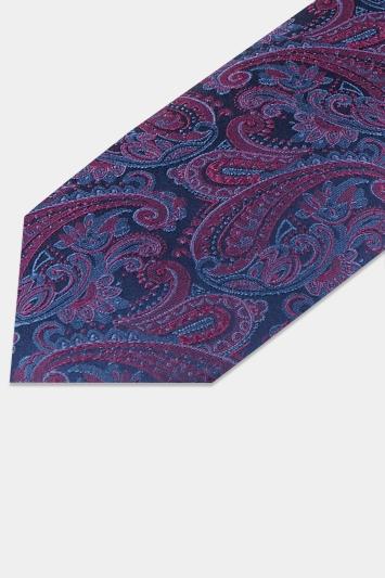 Moss 1851 Navy & Berry Paisley Tie