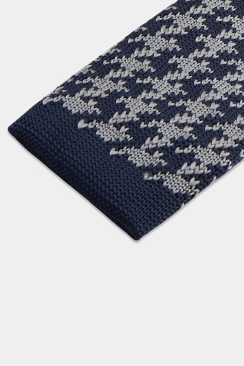 Moss London Charcoal & Navy Houndstooth Knitted Tie