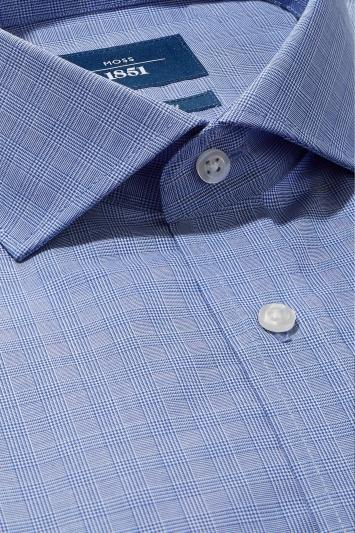 Moss 1851 Tailored Fit Blue Single Cuff Check Non Iron Shirt