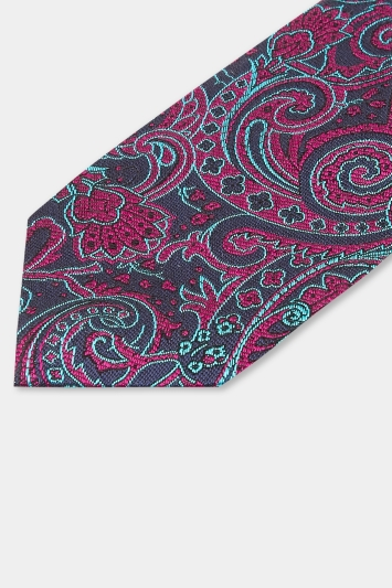 Moss 1851 Made in England Navy & Purple Large Paisley Tie