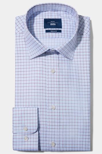 Moss 1851 Tailored Fit Sky Single Cuff Herringbone Check Shirt
