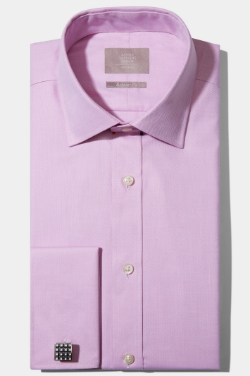 Savoy Taylors Guild Regular Fit Pink Double Cuff Mini Herringbone Shirt