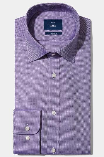 Moss 1851 Tailored Fit Purple Single Cuff Dobby Shirt