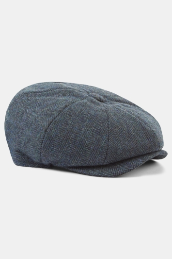 Moss 1851 Navy Herringbone Wool Baker Boy Cap