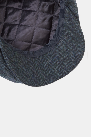 Navy Herringbone Wool Baker Boy Cap