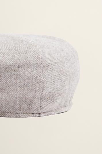 Oatmeal Herringbone Wool Baker Boy Cap
