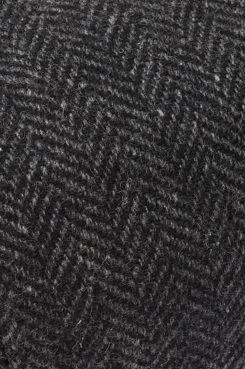 Charcoal Herringbone Wool Baker Boy