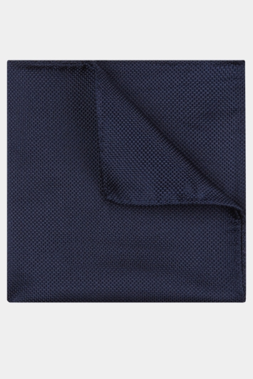 Moss Esq. Navy Textured Natte Pocket Square