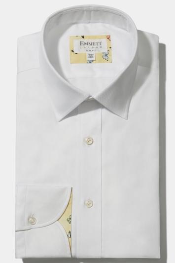 Emmett Slim Fit White Single Cuff Oxford Shirt