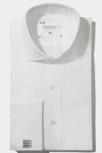 Emmett Regular Fit White Double Cuff Pinpoint Oxford Shirt