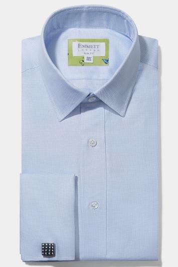 Emmett Slim Fit Blue Double Cuff Oxford Shirt