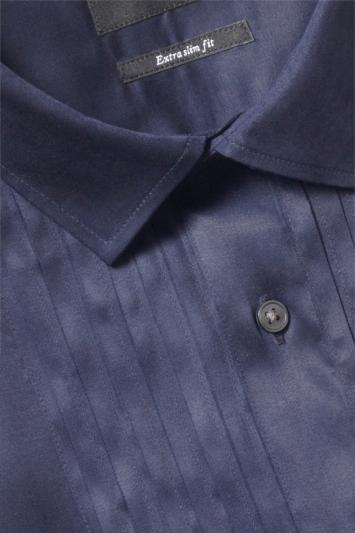 Moss London Premium Extra Slim Fit Navy Single Cuff Pleated Dress Shirt