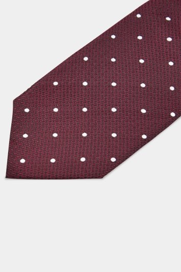 Moss 1851 Burgundy Texture with White Spot Tie