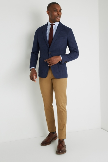 Savoy Taylors Guild Tailored FIt Blue Textured Design Jacket