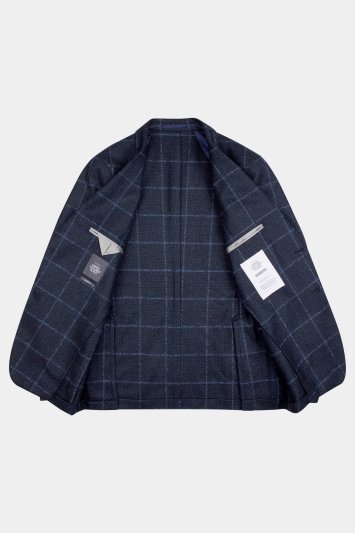 Savoy Taylors Guild Tailored Fit Navy/Blue Bold Windowpane Jacket