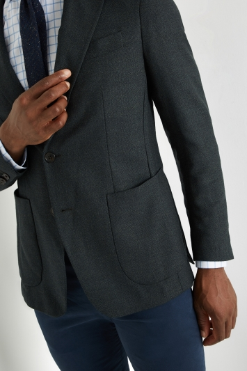 Savoy Taylors Guild Tailored Fit Green Semi Plain Jacket