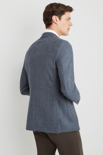 Savoy Taylors Guild Tailored Fit Blue Brushed Semi Plain Jacket