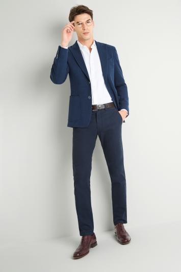 Savoy Taylors Guild Tailored Fit Blue Textured Jacket