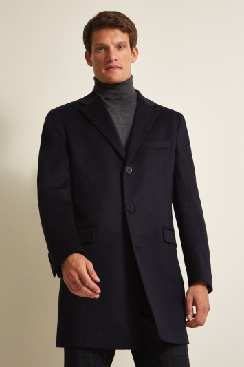 Savoy Taylors Guild Tailored Fit Navy Cashmere Coat