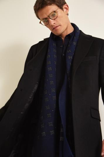 Savoy Taylors Guild Tailored Fit Black Cashmere Coat