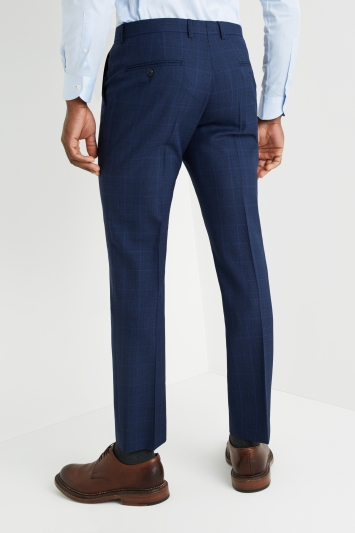 Savoy Taylors Guild Tailored Fit Bright Blue Check Trousers