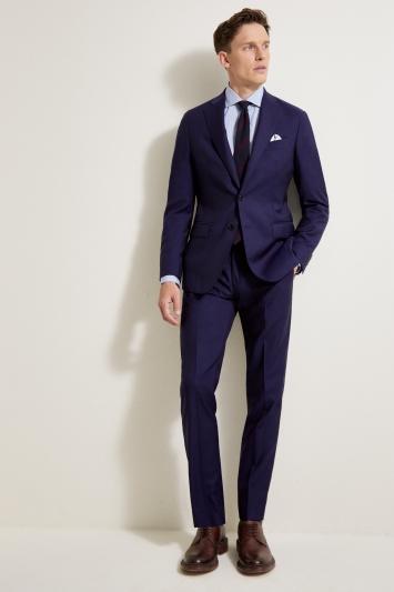 Savoy Taylors Guild Tailored Fit Blue Sharkskin Jacket