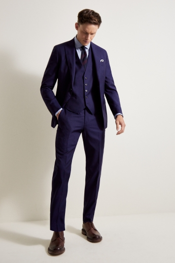 Savoy Taylors Guild Tailored Fit Blue Sharkskin Jacket
