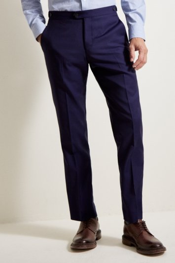 Savoy Taylors Guild Tailored Fit Blue Sharkskin Trousers