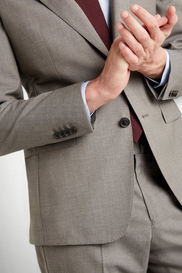 Savoy Taylors Guild Tailored Fit Taupe Grey Jacket