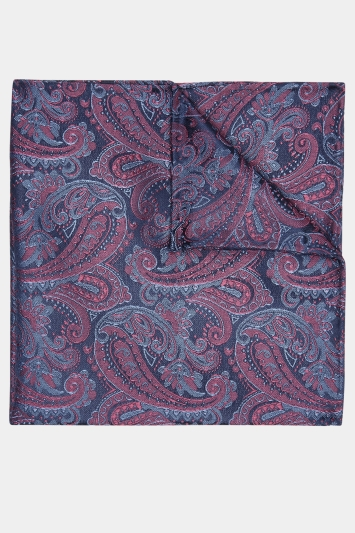 Moss 1851 Navy & Berry Paisley Pocket Square