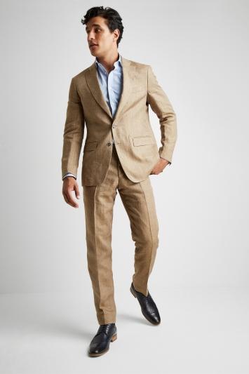 Savoy Taylors Guild Tailored Fit Beige Herringbone Linen Jacket