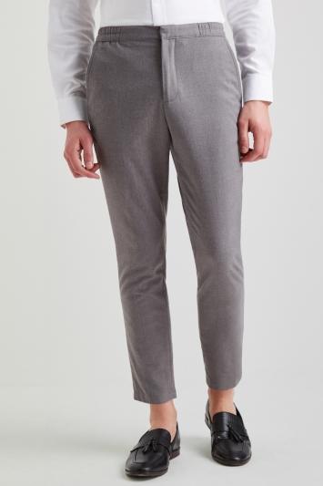 Moss London Slim Fit Light Grey Flannel Elastic Waist Trousers