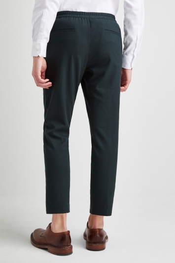 Moss London Slim Fit Green Elastic Waist Cropped Trousers