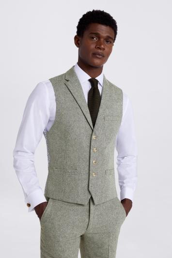 Moss London Slim Fit Sage Herringbone Tweed Jacket