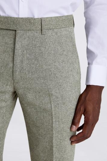 Moss London Slim Fit Sage Herringbone Tweed Trousers