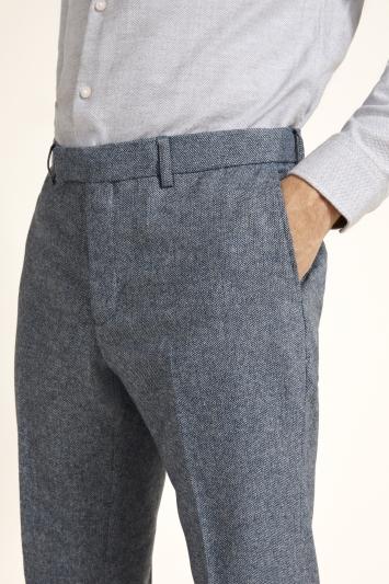 Moss London Slim Fit Blue Herringbone Tweed Trousers