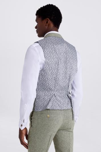 Moss London Slim Fit Sage Herringbone Tweed Waistcoat