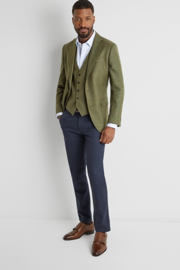 Moss 1851 Tailored Fit Green Multi Check Waistcoat
