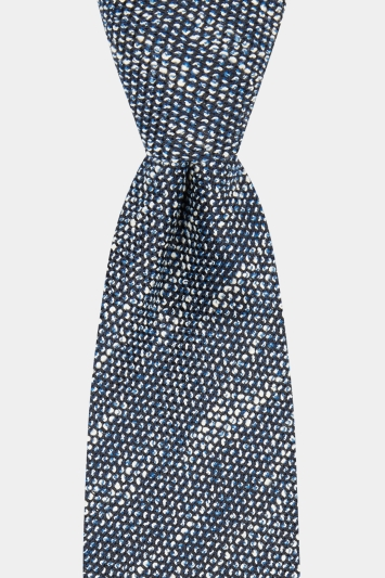 Savoy Taylors Guild Navy & White Boucle Unlined Italian Tie
